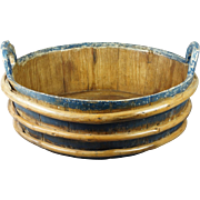 19th Century HUGE Blue Painted Storage Bowl Wash Tub Folk Art Circa 1840s