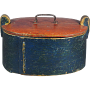 Stunning 19th Century Bentwood Tine Box Blue Painted Folk Art Circa 1850s