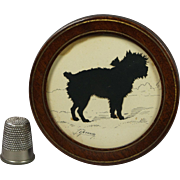 Antique 19th Century Miniature Dog Terrier Cut Paper Silhouette Circular Frame Signed