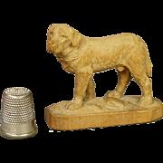 Miniature 19th Century Black Forest Dog St Bernard Swiss Hand Carved