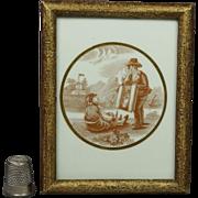 19th Century Miniature Porcelain Plaque Rare Grodnertal Doll Peddler Pedlar Scene Circa 1850