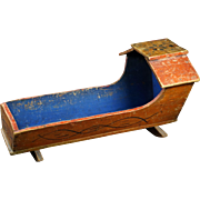 Fantastic 19th Century Blue Painted Doll Cradle Crib Red Folk Art Doll Bed, With Bedding Circa 1840