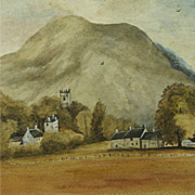 Enchanting 1930s Scottish Watercolor Landscape Rural Scene of Dalmally Folk Art Dated 1934
