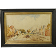 20th Century Watercolor of English 19th Century Village Street Scene