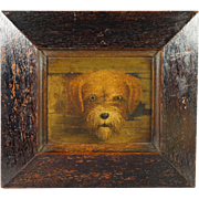 19th Century Oleograph Painting Norwich Terrier Dog Framed Circa 1890