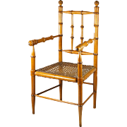 "19th Century French Faux Bamboo Doll Chair Maple and Cane  20"" High Circa 1870 Napoleon III"