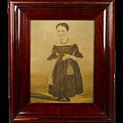 19th Century American School Folk Art Naïve Watercolor Portrait Child With Purse Reticule Bible Circa 1820