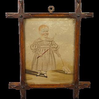 Early 19th Century Miniature Folk Art Watercolor Portrait Child Pull Toy Georgian Circa 1820