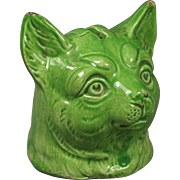 Antique 19th Century Staffordshire Cat Money Box Bank Green Glaze Louis Wain Style Circa 1870