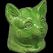 Antique 19th Century Staffordshire Cat Money Box Bank Green Glaze Louis Wain Style Circa 1870