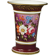 Early 19th Century Spode Porcelain Large Spill Vase Puce Purple Floral Georgian Circa 1815