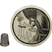 English 19th Century Liverpool Creamware Plaque Roundel Bat Printed Allegory of Winter Circa 1800 Georgian
