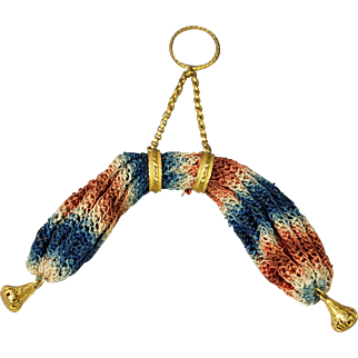 18th Century Silk Netted Stocking Purse Rare Pinchbeck Finger Ring Design Georgian 1790s