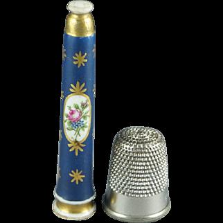 Rarest Antique Porcelain Knitting Needle Tip Guard Sheath Shield Protector Georgian Circa 1810