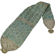18th Century Knitted Silk Long Purse Pale Blue and Silver Stocking Purse Circa 1790
