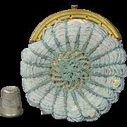 French 19th century Beaded Coin Purse Pale Blue Beadwork Sea Green Crochet late Georgian Circa 1830 AF