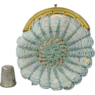 French 19th century Beaded Coin Purse Pale Blue Beadwork Sea Green Crochet late Georgian Circa 1830 AF