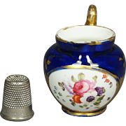 Antique 19th Century Coalport Dolls House Miniature Porcelain Jug Toy Pitcher Cobalt Blue Floral Georgian Circa 1820