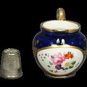 Antique 19th Century Coalport Miniature Porcelain Jug Toy Pitcher Cobalt Blue Floral Georgian Circa 1820