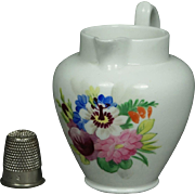19th Century Miniature English Porcelain Toy Jug Doll Size Pitcher Floral Circa 1830