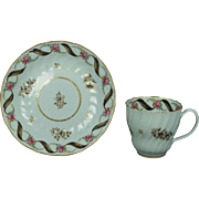 Rare 18th Century English Porcelain Floral Shanked Tea Cup And Saucer Top Factory Circa 1785