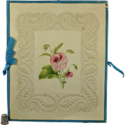 19th Century Windsor Embossed Paper Folio Album Cover Case Floral Watercolor Paintings Georgian Circa 1830