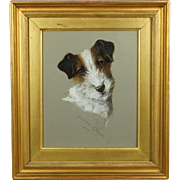 Jack Russell Terrier Dog Portrait Painting Gouache On Board G Louis Grover Circa 1918