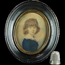 Antique 18th Century Miniature Engraving Boy in Blue Georgian Circa 1800 Gainsborough Manner