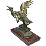 19th Century French Ho Ho Bird Gilt Metal Display Stand Pocket Watch Holder Red Alicante Marble Base Circa 1870