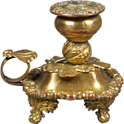 19th Century French Gilt Chamberstick Candle Holder Candlestick Rococo Shell Pattern