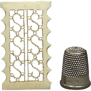 19th Century Pierced Bone Fretwork Thread Winder Filigree Initials S S English Georgian