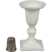 Antique French 19th Century Miniature White Opaline Glass Candlestick  Circa 1860 Napoleon III