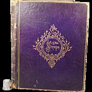 19th Century Purple Leather Scrap Album Albumen Prints with A Cowan & Sons Watermark Paper Circa 1870
