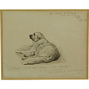 Antique St Bernard Dog Pen and Ink Drawing by George Du Maurier, Circle of Lewis Caroll, Punch Magazine Signed Dated 1877