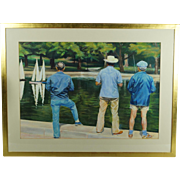 Nigel Van Wieck Pastel The Boating Lake Central Park New York American Realism 1980s