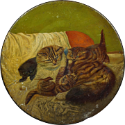 19th Century Victorian Cat Kitten Painting Tole Charger Plate Dish Circa 1880