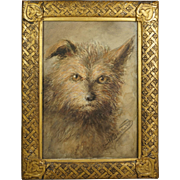 British 19th Century Dog Watercolor Portrait Norwich Terrier by Emily Barnard Art Nouveau Circa 1880s