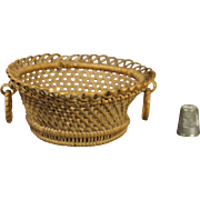 19th Century Miniature Wicker Basket Ring Handles Regency Circa 1820