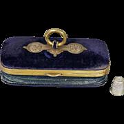19th Century French Sewing Etui Purse Tatting Set Glove Box Necessaire Purple Velvet Circa 1870