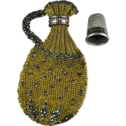 Antique Georgian Pence Jug Purse Knitted Cut Steel Beadwork English Circa 1830