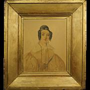 19th Century French Watercolor Portrait Regency Lady 1835 Artist David Paul Brindeau