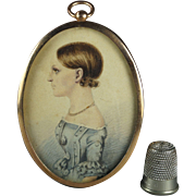 Antique English Georgian Portrait Miniature on Card Hammond Family 1820