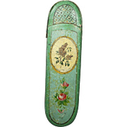 Deliciously Scarce 19th Century French Hand Painted Green Papier Mache Spectacle Case Roses Lilacs Circa 1840