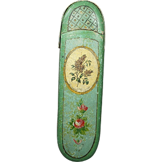 19th Century French Spectacle Eyeglasses Case Green Papier Mache Hand Painted Roses Lilacs Circa 1840