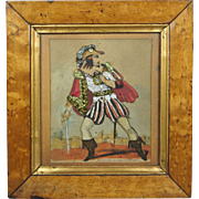 19th Century Miniature Tinsel Print Picture Theatrical Duke Of Gloucester Richard III Circa 1825