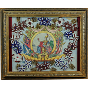 British 19th Century Sailors Folk Art Collage Picture Beadwork Flowers Diorama Shadow Box Frame Victorian