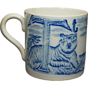 19th Century Childs Alphabet Mug Blue and White Transferware Tiger Ship Initials S T Circa 1830