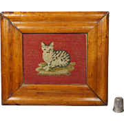 19th Century Georgian Miniature Woolwork Needlepoint Cat Kitten Birds Eye Maple Frame English Circa 1820