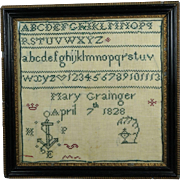 Antique 19th Century Miniature Georgian Mourning Sampler Mary Grainger 1828