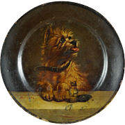 Original 19th Century Victorian Cairn Terrier Dog Oil Painting Papier Mache Plate After George Earl